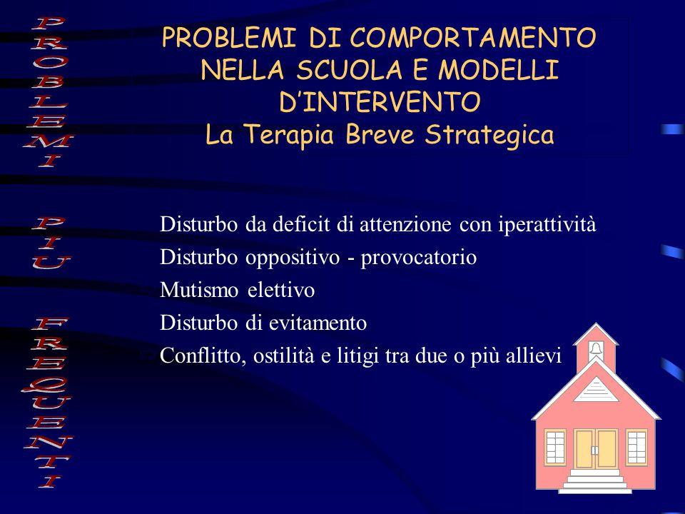 PROBLEMI DI COMPORTAMENTO NELLA SCUOLA E MODELLI D'INTERVENTO La Terapia Breve Strategica  Disturbo da deficit di attenzione con iperattività  Distu