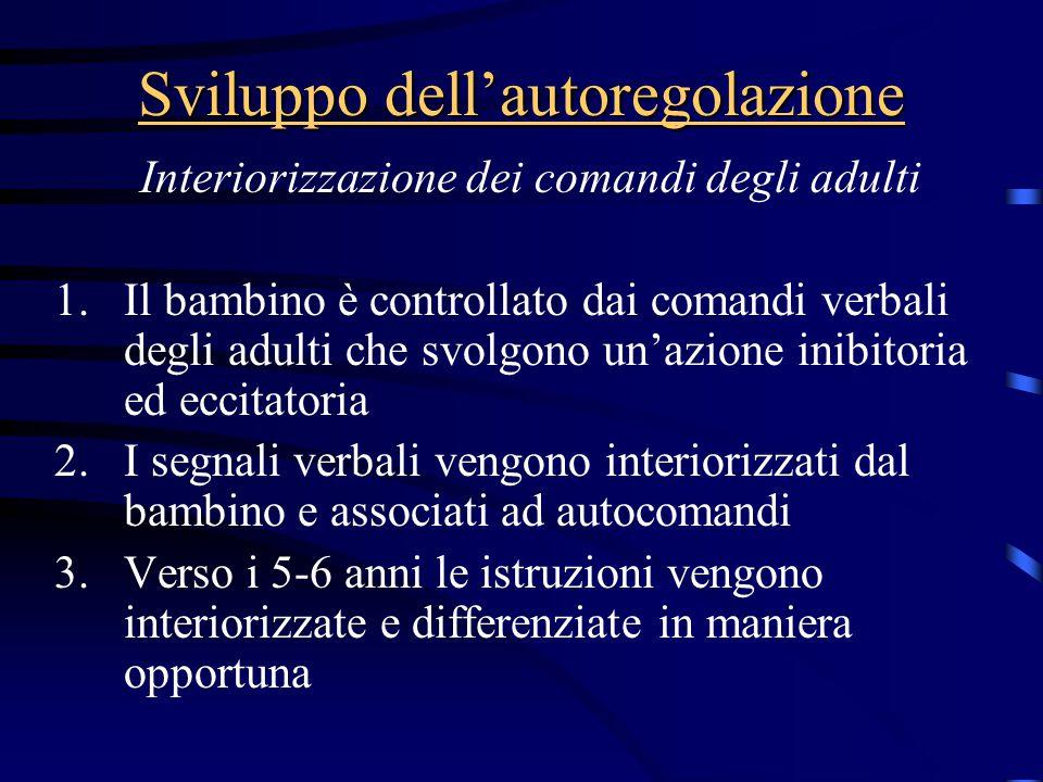 Sviluppo dell'autoregolazione Interiorizzazione dei comandi degli adulti 1.Il bambino è controllato dai comandi verbali degli adulti che svolgono un'a