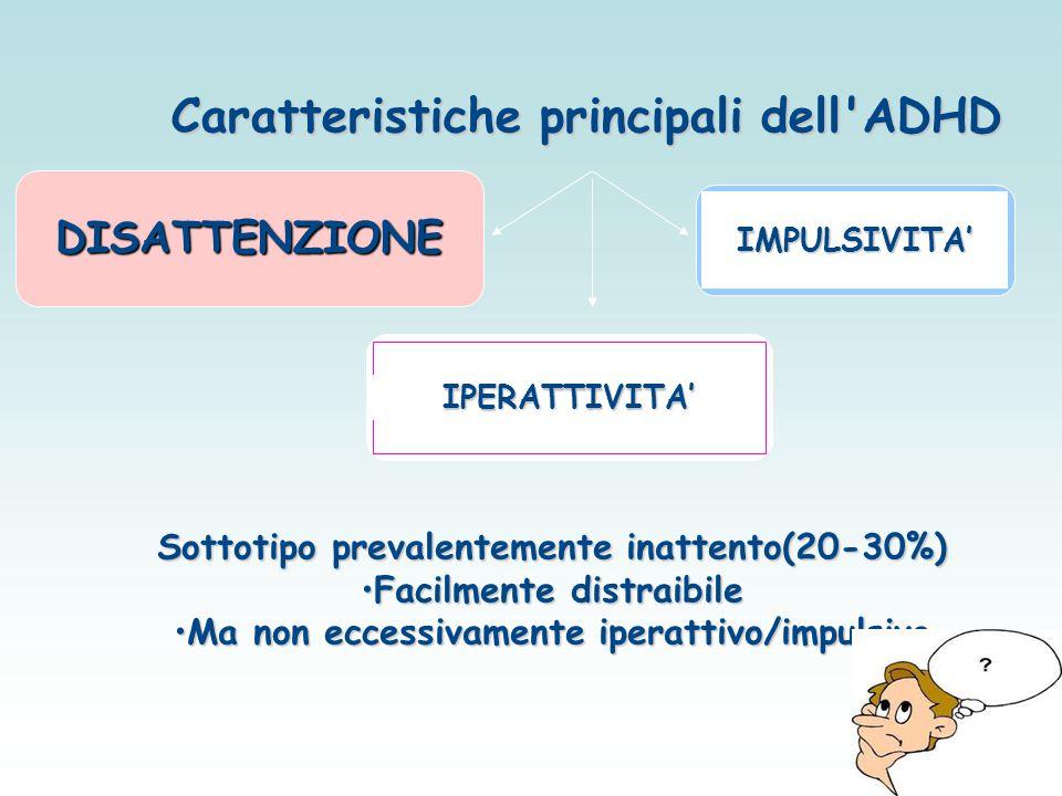 Caratteristiche principali dell'ADHD DISATTENZIONE IPERATTIVITA' IMPULSIVITA' Sottotipo prevalentemente inattento(20-30%) Facilmente distraibileFacilm