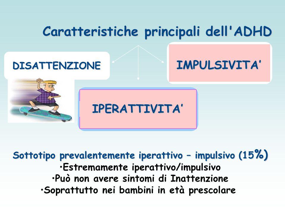 Caratteristiche principali dell'ADHD DISATTENZIONE IPERATTIVITA' Sottotipo prevalentemente iperattivo – impulsivo (15 %) Estremamente iperattivo/impul