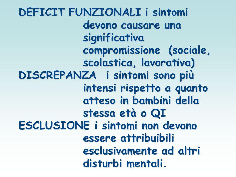 DEFICIT FUNZIONALI i sintomi devono causare una significativa compromissione (sociale, scolastica, lavorativa) DISCREPANZAi sintomi sono più intensi r