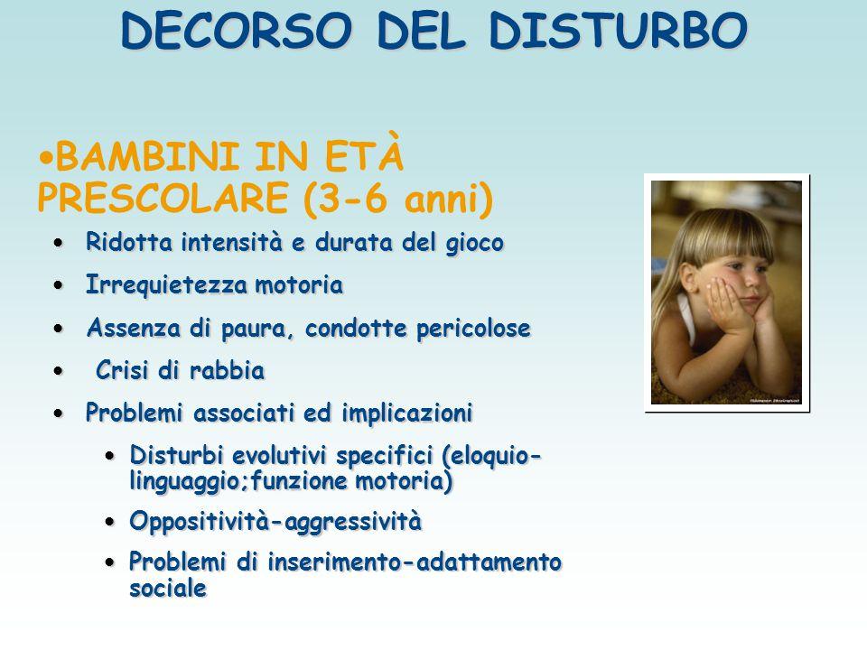 BAMBINI IN ETÀ PRESCOLARE (3-6 anni) Ridotta intensità e durata del gioco Ridotta intensità e durata del gioco Irrequietezza motoria Irrequietezza mot