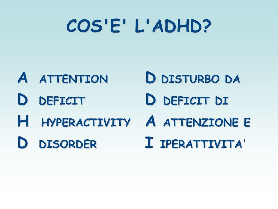 COS'E' L'ADHD? A ATTENTION D DEFICIT H HYPERACTIVITY D DISORDER D DISTURBO DA D DEFICIT DI A ATTENZIONE E I IPERATTIVITA I IPERATTIVITA'