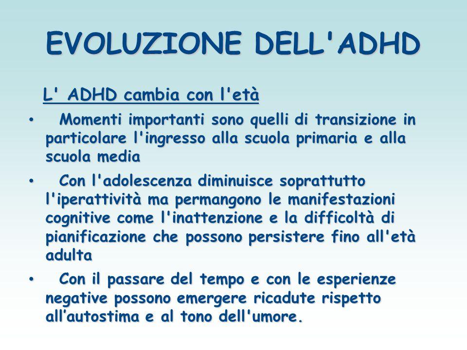 EVOLUZIONE DELL'ADHD L' ADHD cambia con l'età L' ADHD cambia con l'età Momenti importanti sono quelli di transizione in particolare l'ingresso alla sc