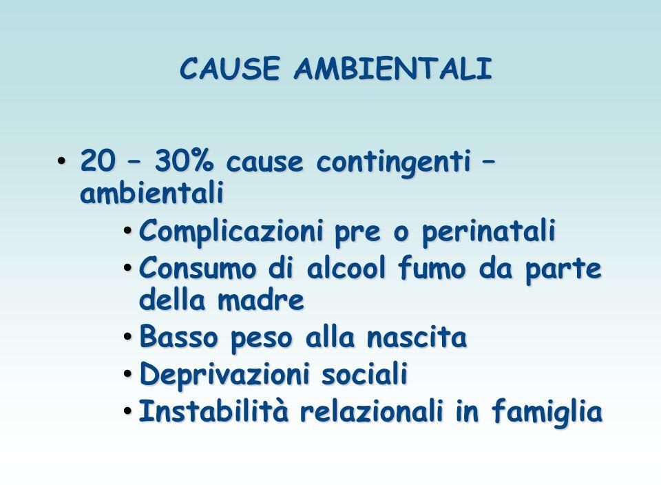 CAUSE AMBIENTALI 20 – 30% cause contingenti – ambientali 20 – 30% cause contingenti – ambientali Complicazioni pre o perinatali Complicazioni pre o pe