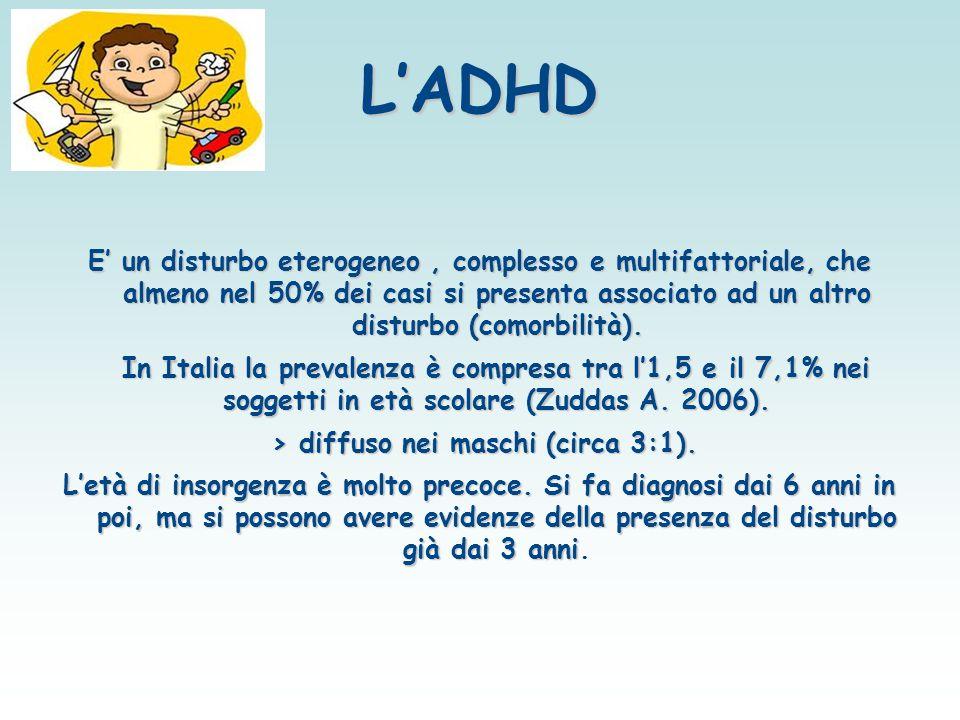 L'ADHD E' un disturbo eterogeneo, complesso e multifattoriale, che almeno nel 50% dei casi si presenta associato ad un altro disturbo (comorbilità). I