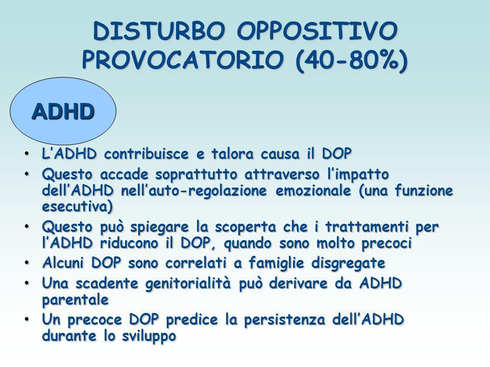 DISTURBO OPPOSITIVO PROVOCATORIO (40-80%) L'ADHD contribuisce e talora causa il DOP L'ADHD contribuisce e talora causa il DOP Questo accade soprattutt