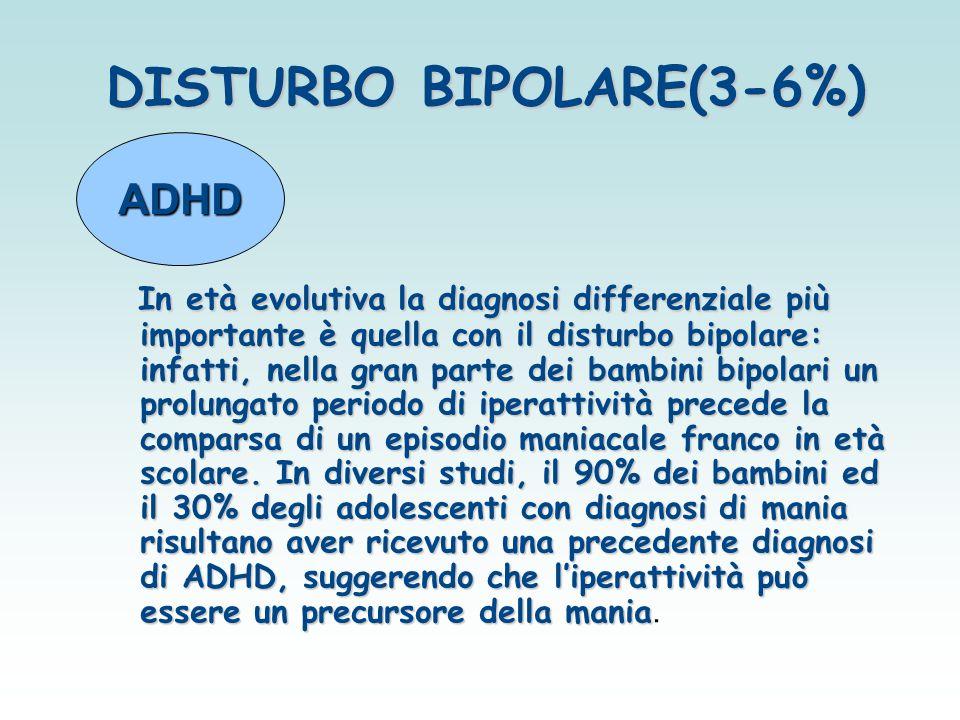 DISTURBO BIPOLARE(3-6%) In età evolutiva la diagnosi differenziale più importante è quella con il disturbo bipolare: infatti, nella gran parte dei bam