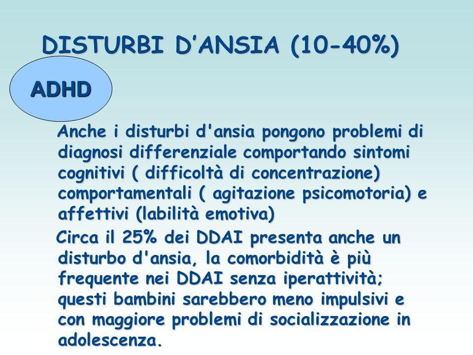 DISTURBI D'ANSIA (10-40%) Anche i disturbi d'ansia pongono problemi di diagnosi differenziale comportando sintomi cognitivi ( difficoltà di concentraz