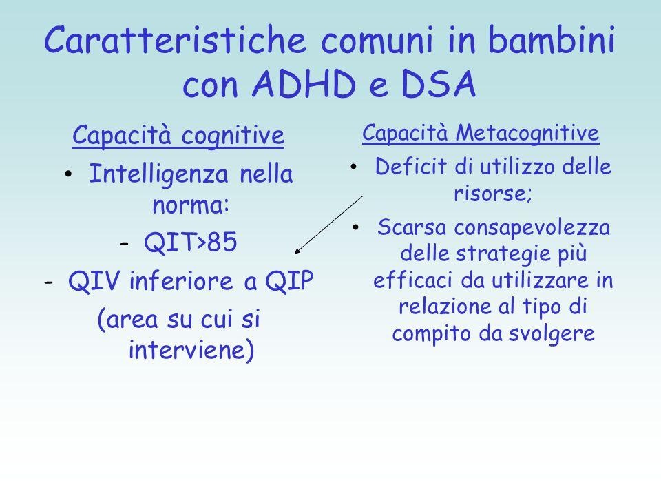Caratteristiche comuni in bambini con ADHD e DSA Capacità cognitive Intelligenza nella norma: -QIT>85 -QIV inferiore a QIP (area su cui si interviene)