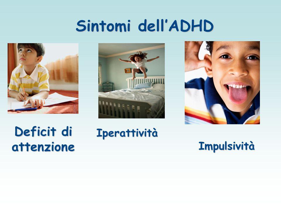 Caratteristiche dell ADHD Il Disturbo da Deficit di Attenzione e Iperattività si caratterizza per la presenza di tre gruppi fondamentali di sintomi: DISATTENZIONE intesa come incapacità nel mantenere per un periodo sufficientemente prolungato l'attenzione su un compito.