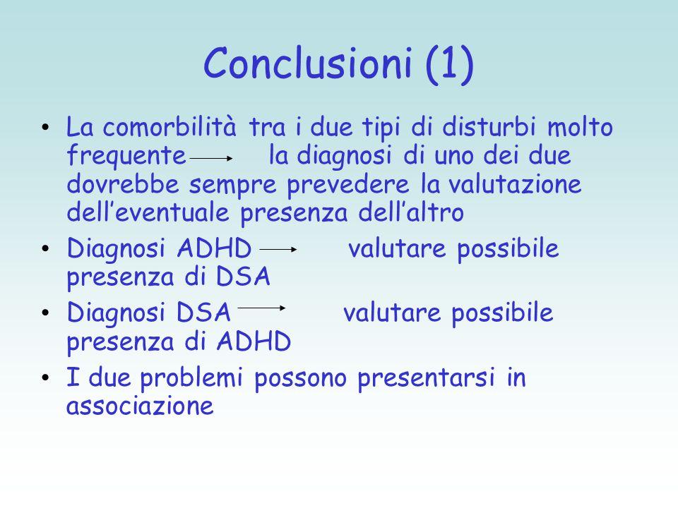 Conclusioni (1) La comorbilità tra i due tipi di disturbi molto frequente la diagnosi di uno dei due dovrebbe sempre prevedere la valutazione dell'eve