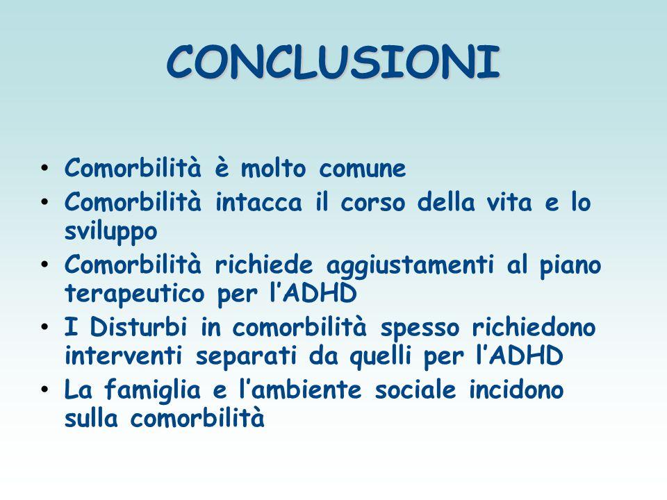 CONCLUSIONI Comorbilità è molto comune Comorbilità intacca il corso della vita e lo sviluppo Comorbilità richiede aggiustamenti al piano terapeutico p
