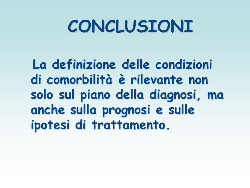 CONCLUSIONI CONCLUSIONI La definizione delle condizioni di comorbilità è rilevante non solo sul piano della diagnosi, ma anche sulla prognosi e sulle