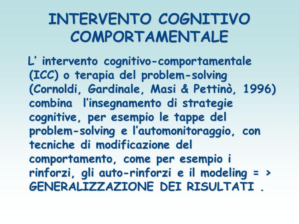 INTERVENTO COGNITIVO COMPORTAMENTALE L' intervento cognitivo-comportamentale (ICC) o terapia del problem-solving (Cornoldi, Gardinale, Masi & Pettinò,