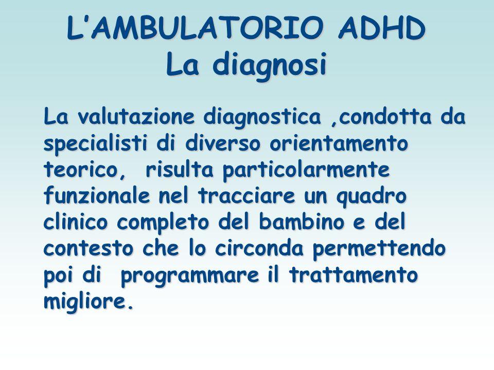 L'AMBULATORIO ADHD La diagnosi La valutazione diagnostica,condotta da specialisti di diverso orientamento teorico, risulta particolarmente funzionale