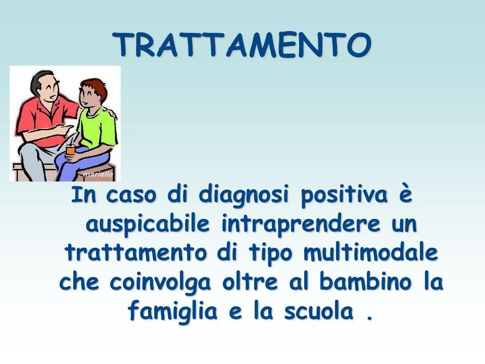TRATTAMENTO I n caso di diagnosi positiva è auspicabile intraprendere un trattamento di tipo multimodale che coinvolga oltre al bambino la famiglia e