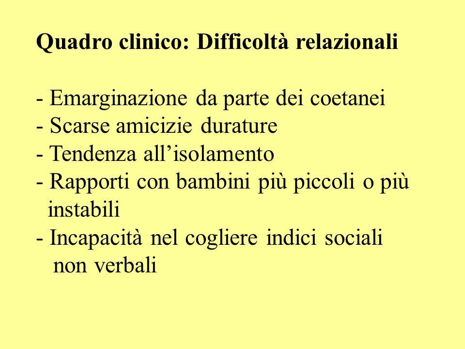 Quadro clinico: Difficoltà relazionali - Emarginazione da parte dei coetanei - Scarse amicizie durature - Tendenza all'isolamento - Rapporti con bambi