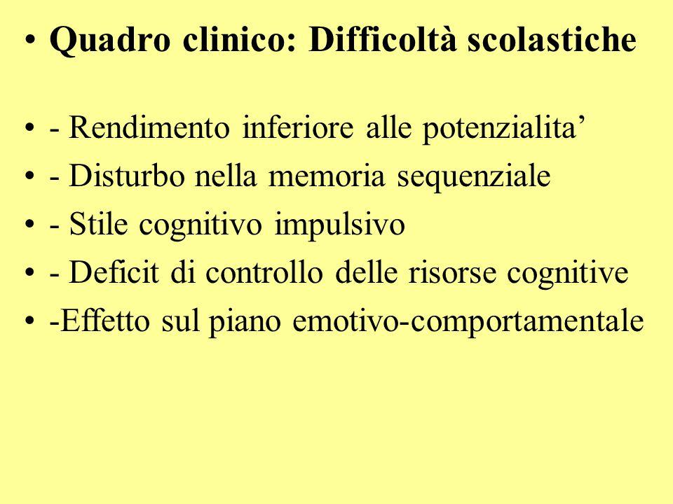 Quadro clinico: Difficoltà scolastiche - Rendimento inferiore alle potenzialita' - Disturbo nella memoria sequenziale - Stile cognitivo impulsivo - De