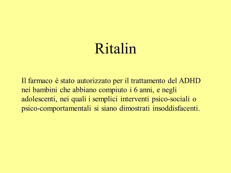 Ritalin Il farmaco è stato autorizzato per il trattamento del ADHD nei bambini che abbiano compiuto i 6 anni, e negli adolescenti, nei quali i semplic