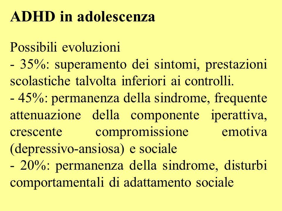 ADHD in adolescenza Possibili evoluzioni - 35%: superamento dei sintomi, prestazioni scolastiche talvolta inferiori ai controlli. - 45%: permanenza de