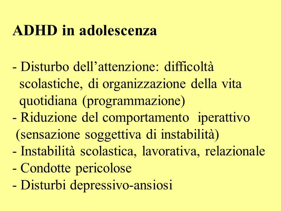 ADHD in adolescenza - Disturbo dell'attenzione: difficoltà scolastiche, di organizzazione della vita quotidiana (programmazione) - Riduzione del compo