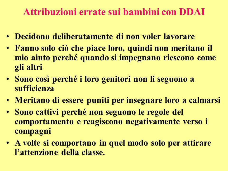 Attribuzioni errate sui bambini con DDAI Decidono deliberatamente di non voler lavorare Fanno solo ciò che piace loro, quindi non meritano il mio aiut