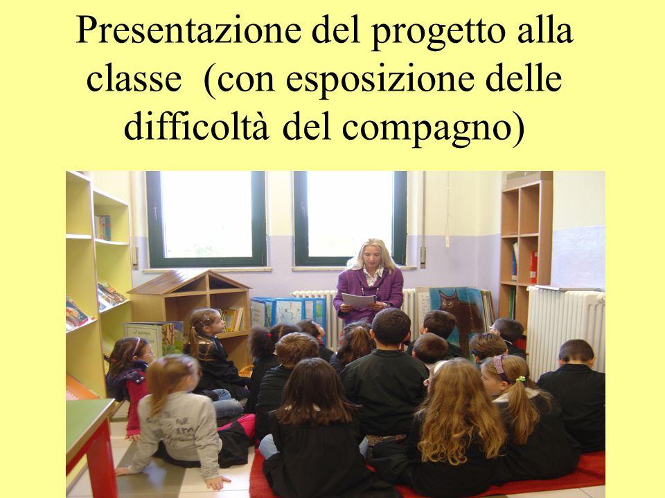 Presentazione del progetto alla classe (con esposizione delle difficoltà del compagno)