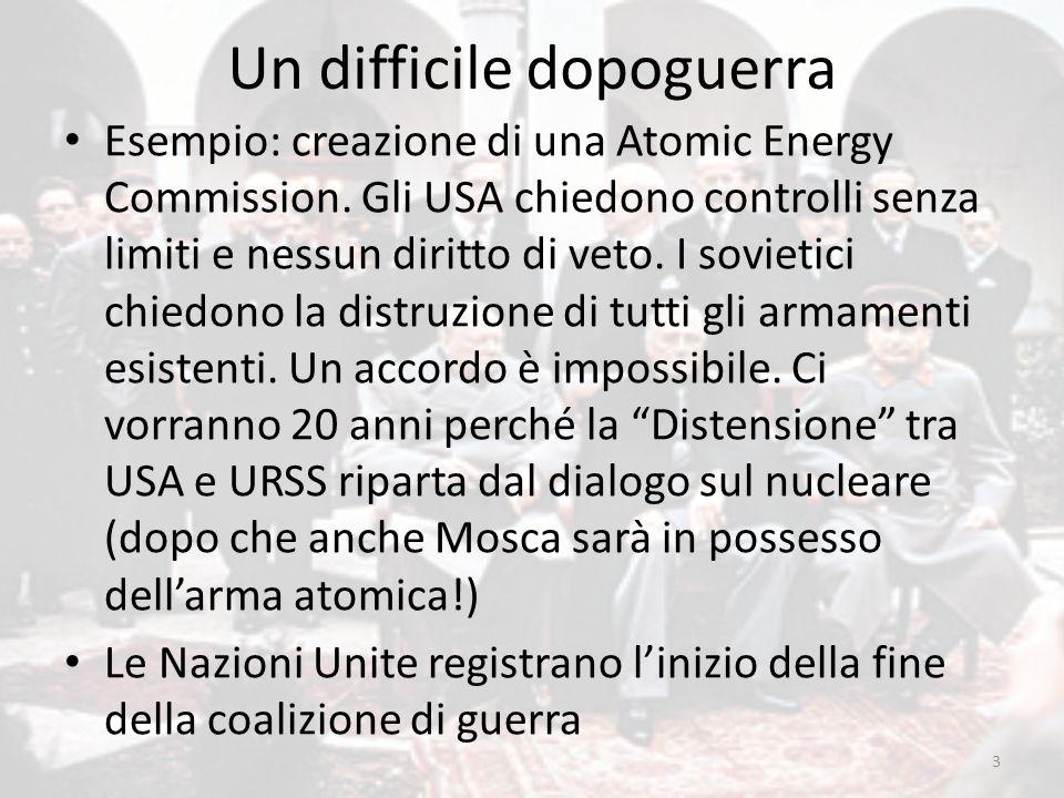 Un difficile dopoguerra Esempio: creazione di una Atomic Energy Commission. Gli USA chiedono controlli senza limiti e nessun diritto di veto. I soviet