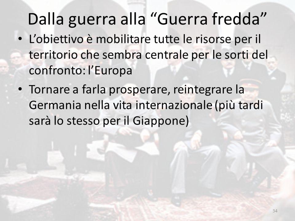 """Dalla guerra alla """"Guerra fredda"""" L'obiettivo è mobilitare tutte le risorse per il territorio che sembra centrale per le sorti del confronto: l'Europa"""