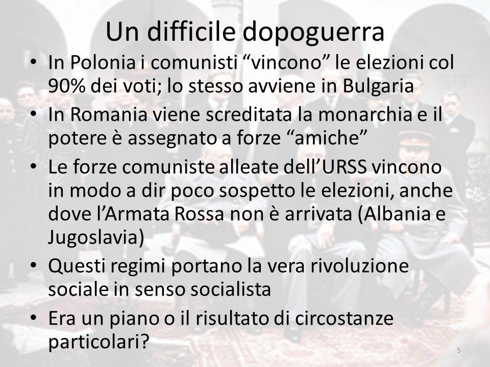 """Un difficile dopoguerra In Polonia i comunisti """"vincono"""" le elezioni col 90% dei voti; lo stesso avviene in Bulgaria In Romania viene screditata la mo"""