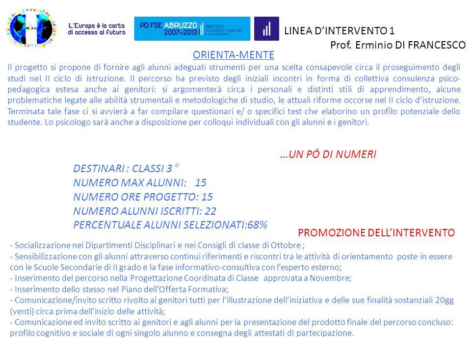 LINEA D'INTERVENTO 1 Prof. Erminio DI FRANCESCO ORIENTA-MENTE Il progetto si propone di fornire agli alunni adeguati strumenti per una scelta consapev