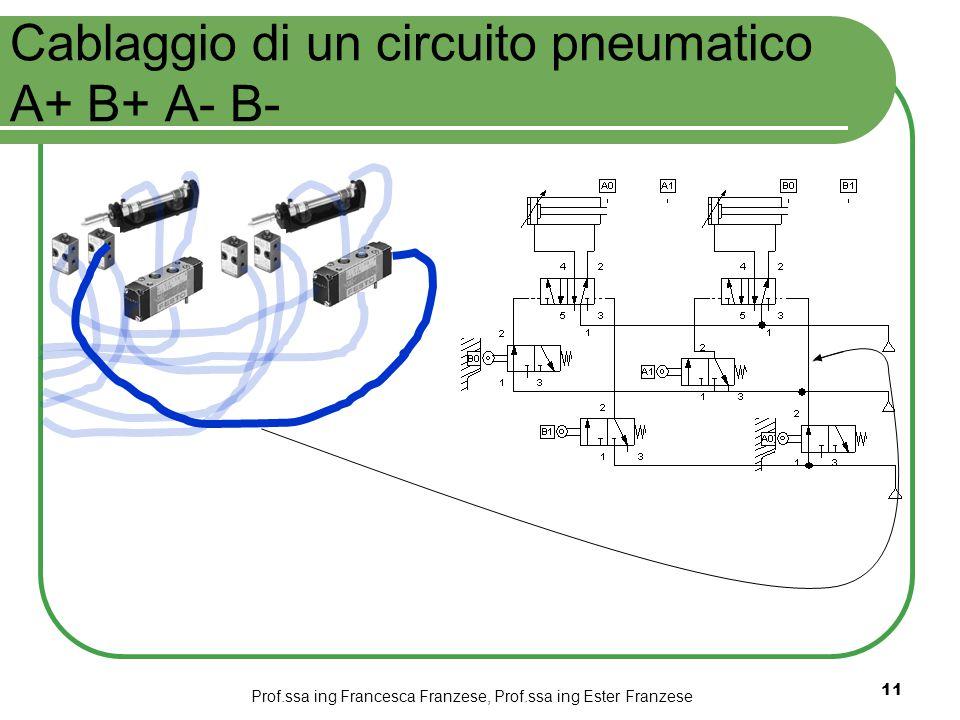Prof.ssa ing Francesca Franzese, Prof.ssa ing Ester Franzese 11 Cablaggio di un circuito pneumatico A+ B+ A- B-