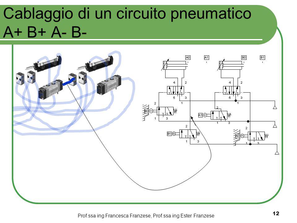 Prof.ssa ing Francesca Franzese, Prof.ssa ing Ester Franzese 12 Cablaggio di un circuito pneumatico A+ B+ A- B-