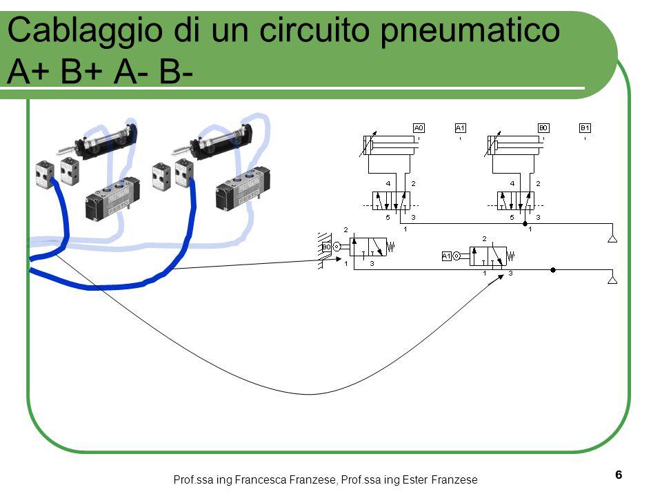 Prof.ssa ing Francesca Franzese, Prof.ssa ing Ester Franzese 6 Cablaggio di un circuito pneumatico A+ B+ A- B-