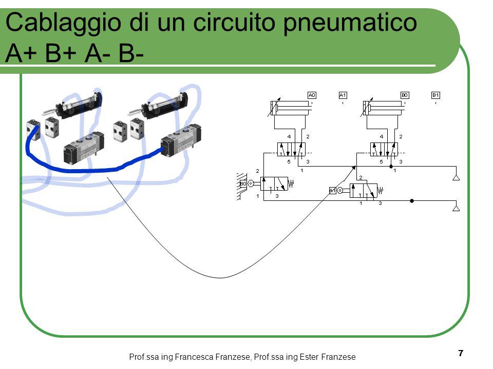 Prof.ssa ing Francesca Franzese, Prof.ssa ing Ester Franzese 7 Cablaggio di un circuito pneumatico A+ B+ A- B-