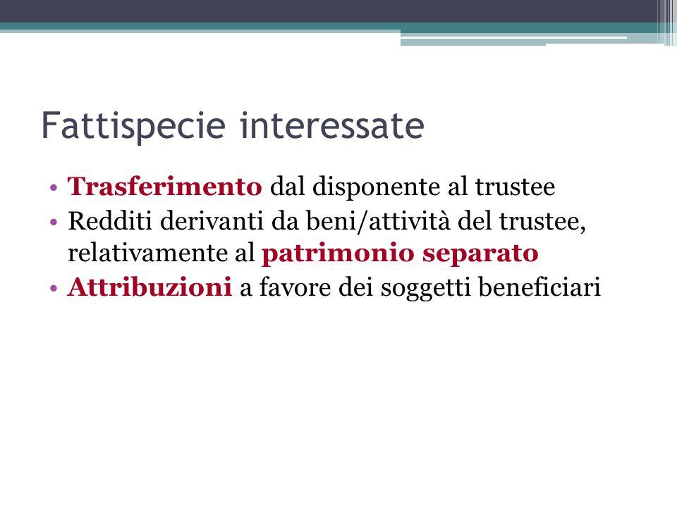 Fattispecie interessate Trasferimento dal disponente al trustee Redditi derivanti da beni/attività del trustee, relativamente al patrimonio separato Attribuzioni a favore dei soggetti beneficiari