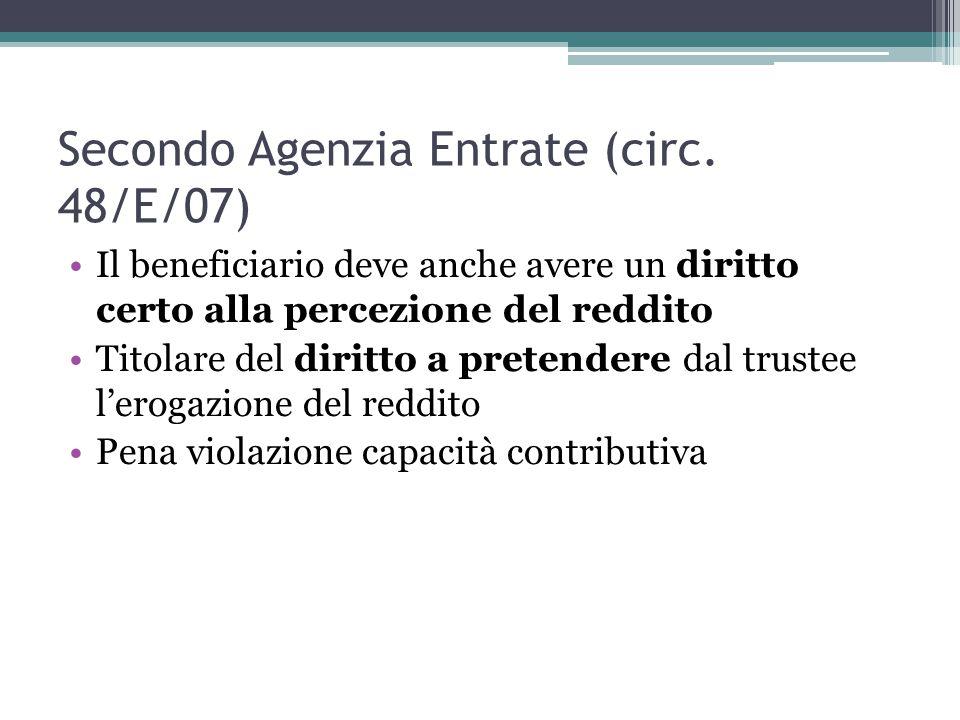 Secondo Agenzia Entrate (circ.