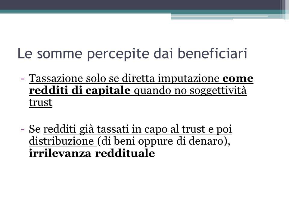Le somme percepite dai beneficiari -Tassazione solo se diretta imputazione come redditi di capitale quando no soggettività trust -Se redditi già tassati in capo al trust e poi distribuzione (di beni oppure di denaro), irrilevanza reddituale