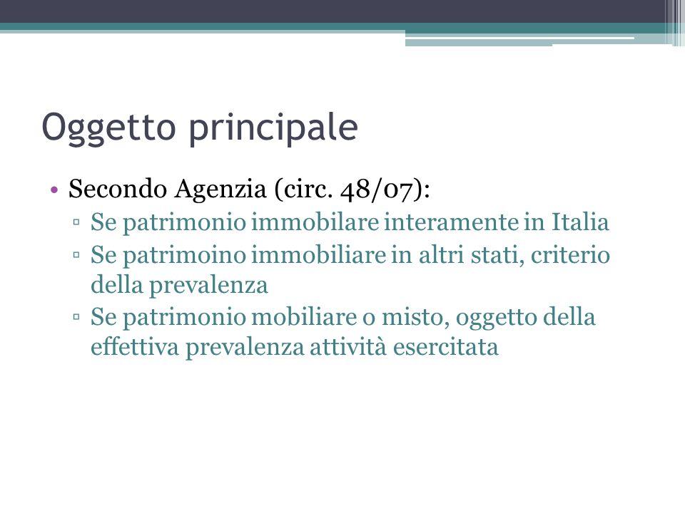 Oggetto principale Secondo Agenzia (circ.