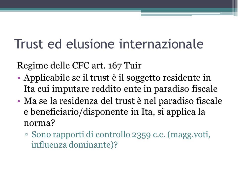 Trust ed elusione internazionale Regime delle CFC art.