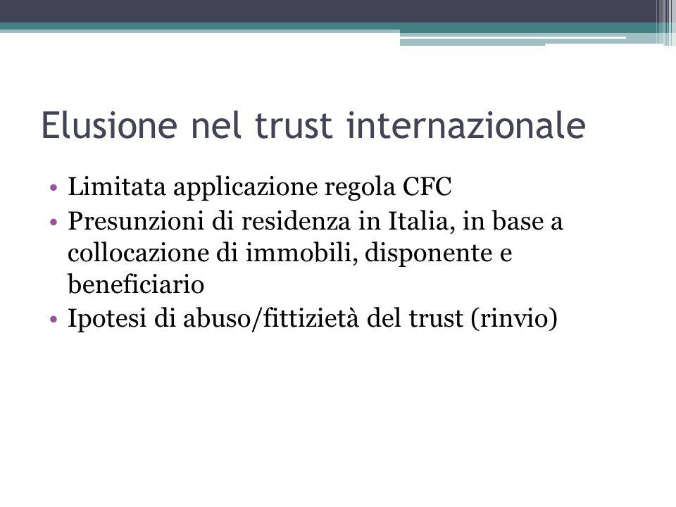 Elusione nel trust internazionale Limitata applicazione regola CFC Presunzioni di residenza in Italia, in base a collocazione di immobili, disponente e beneficiario Ipotesi di abuso/fittizietà del trust (rinvio)