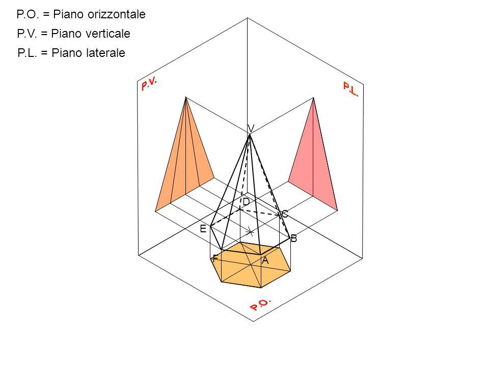 P.O.P.V. P.L. Proiezione ortogonale di una piramide a base esagonale sospesa sul P.O.