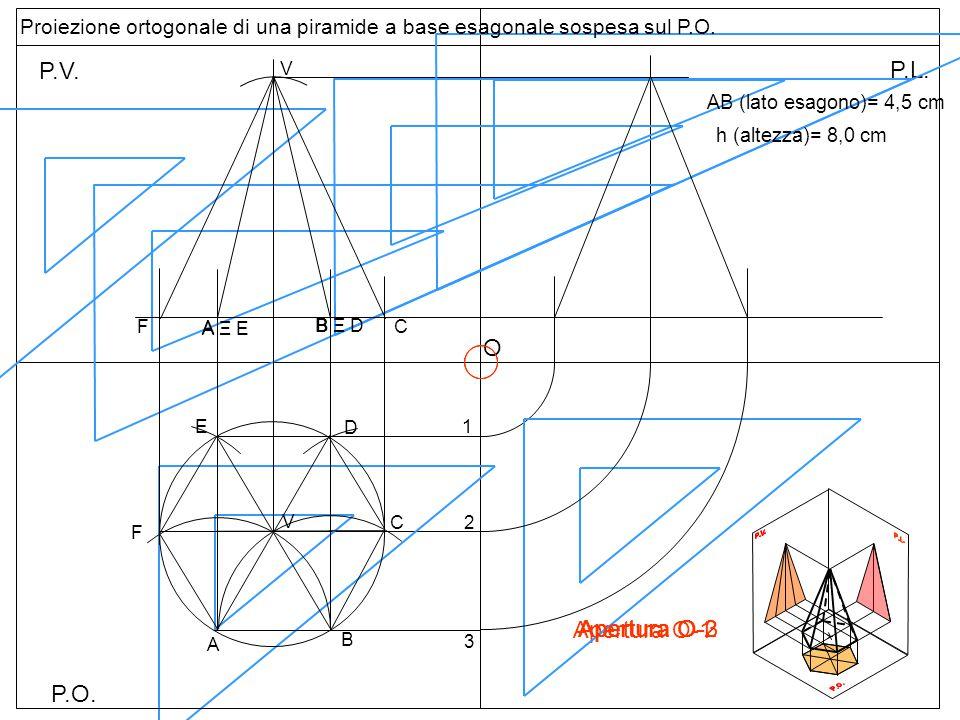 P.O. P.V. P.L. Apertura O-1 B F A C V 1 2 O 3 Apertura O-2 Apertura O-3 Proiezione ortogonale di una piramide a base esagonale sospesa sul P.O. A B D