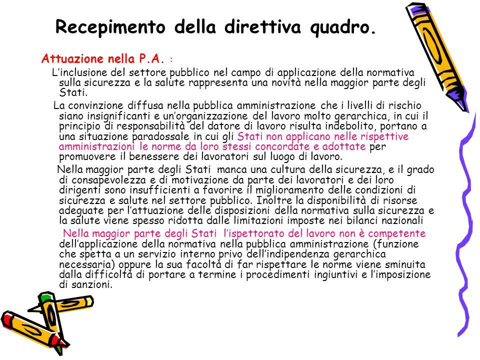 Recepimento della direttiva quadro. Attuazione nella P.A.