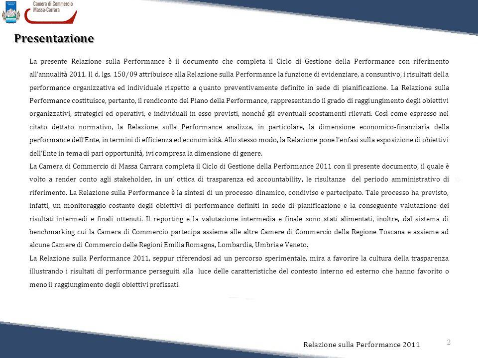 2 Relazione sulla Performance 2011 Presentazione La presente Relazione sulla Performance è il documento che completa il Ciclo di Gestione della Perfor