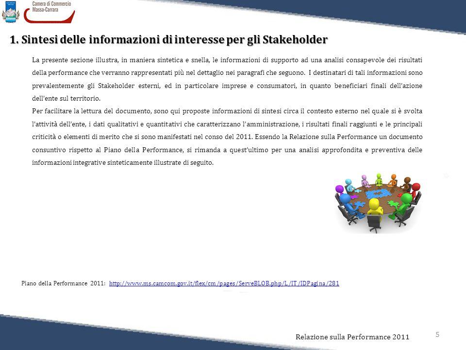 5 Relazione sulla Performance 2011 1. Sintesi delle informazioni di interesse per gli Stakeholder La presente sezione illustra, in maniera sintetica e