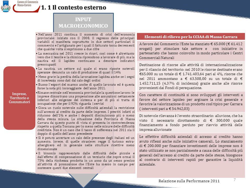 7 1. 1 Il contesto esterno Relazione sulla Performance 2011 INPUT MACROECON0MICO Nell'anno 2011 continua il momento di crisi dell'economia provinciale