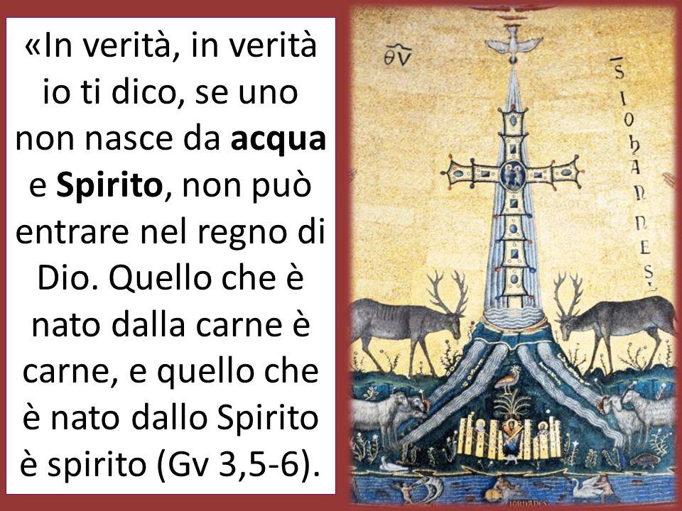 «In verità, in verità io ti dico, se uno non nasce da acqua e Spirito, non può entrare nel regno di Dio. Quello che è nato dalla carne è carne, e quel