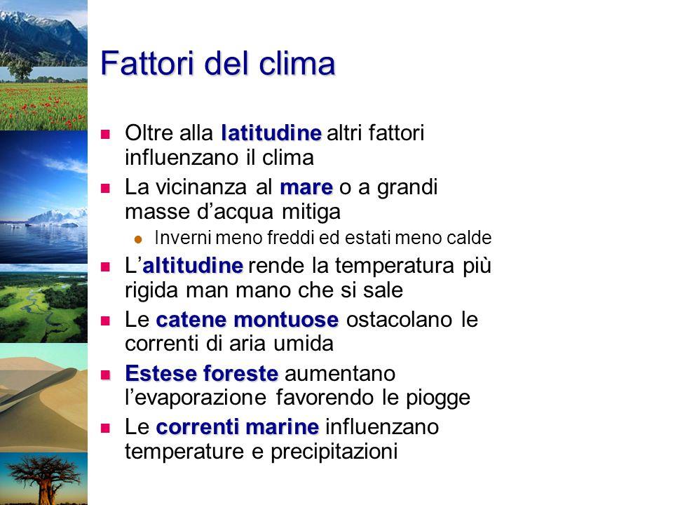 Fattori del clima latitudine Oltre alla latitudine altri fattori influenzano il clima mare La vicinanza al mare o a grandi masse d'acqua mitiga Invern